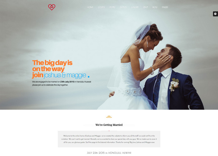 Fullscreen WordPress Wedding Theme