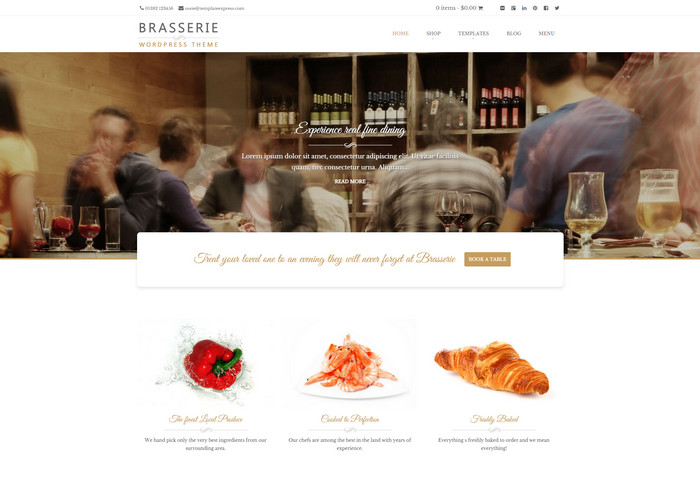brasserie - free food blog theme