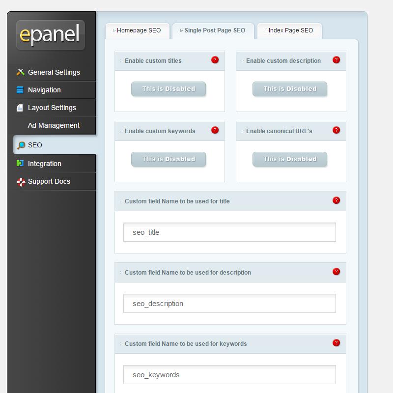 epanel - Theme Options