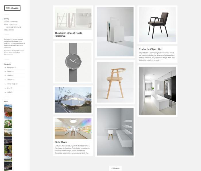 minimal masonry theme for photographers