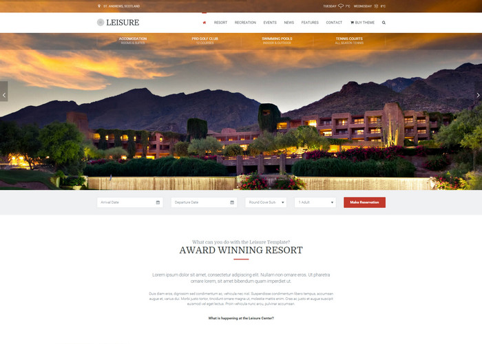 Hotel Leisure - Hotel, Resort & Spa WordPress Theme