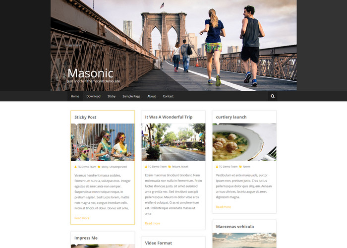 masonic - food blog theme for wordpress