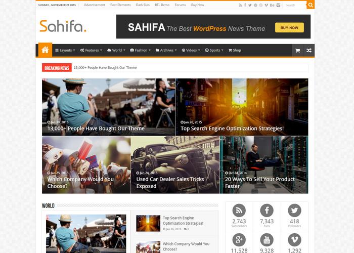 sahifa - premium magazine wordpress theme
