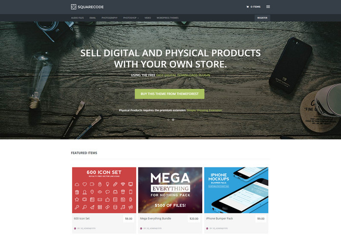 Marketplace wordpress theme with Easy Digital Downloads