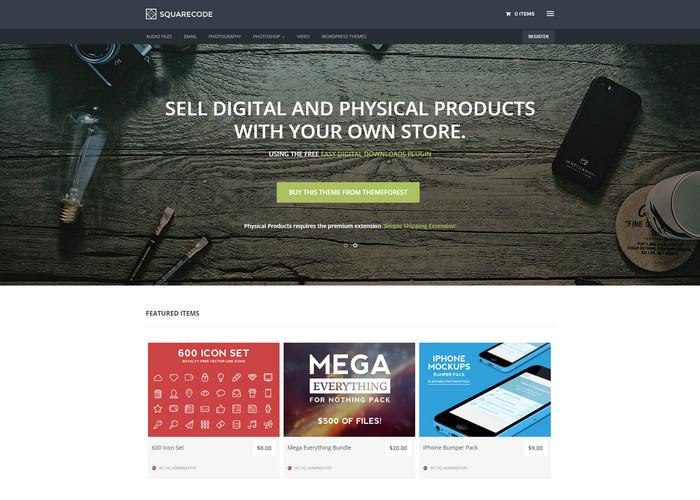 Marketplace wordpress theme with Easy Digital Downloads