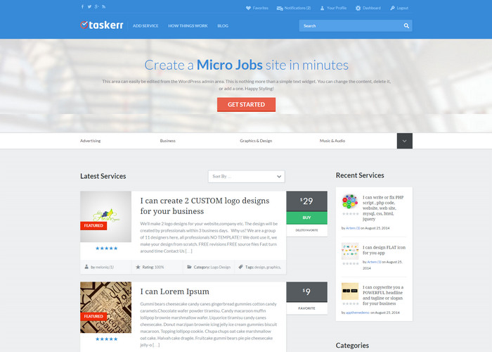 Micro Jobs wordpress theme like fiverr
