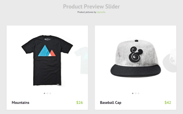 Product Preview Slider for pricing table