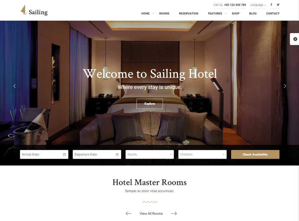 Sailing Hotel WordPress Theme