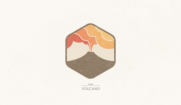 The Volcano logo with flat vintage colors
