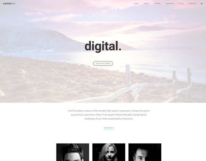 canvas - onepage html template