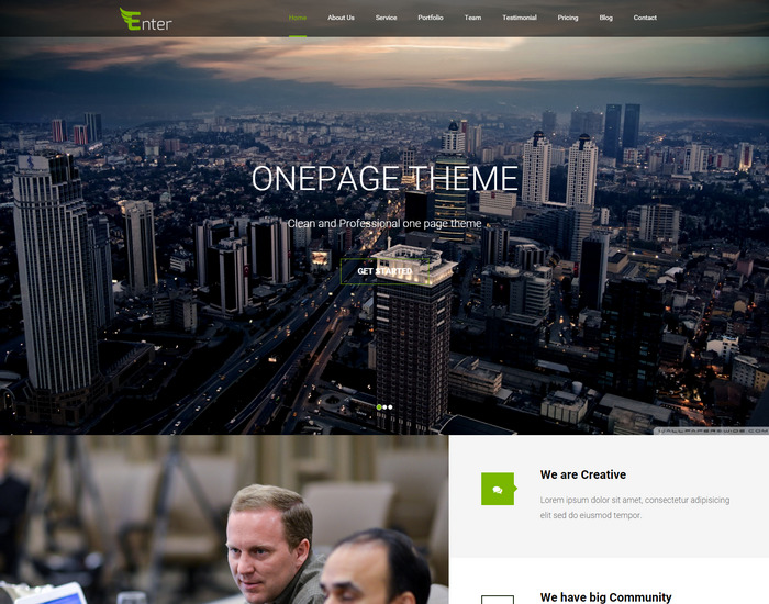 enter- responsive WordPress One Page theme