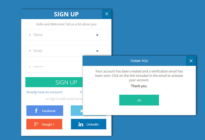 Trendy Signup Form with account creation