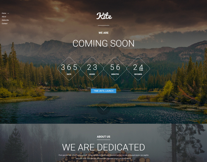 Kite Free Responsive Coming Soon HTML5 Template