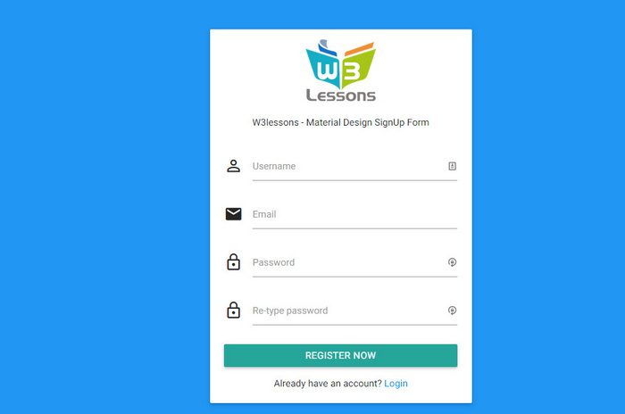 Material Design SignUp Form