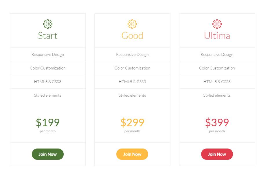 Price plans css3, html5