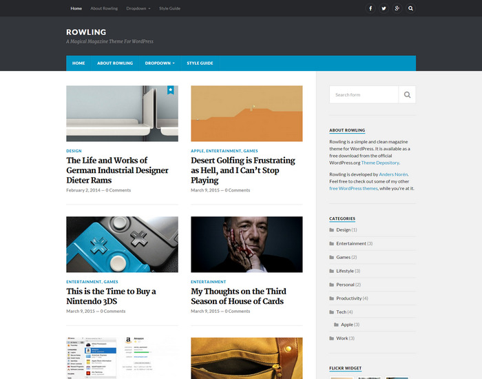 rowling - magazine wordpress theme