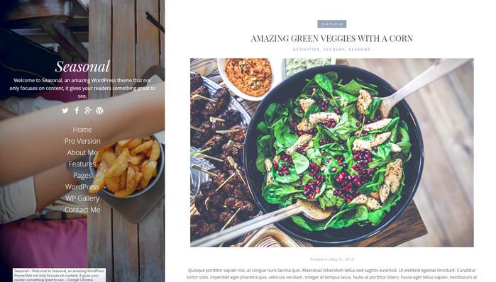 seasonal - food blog theme for free