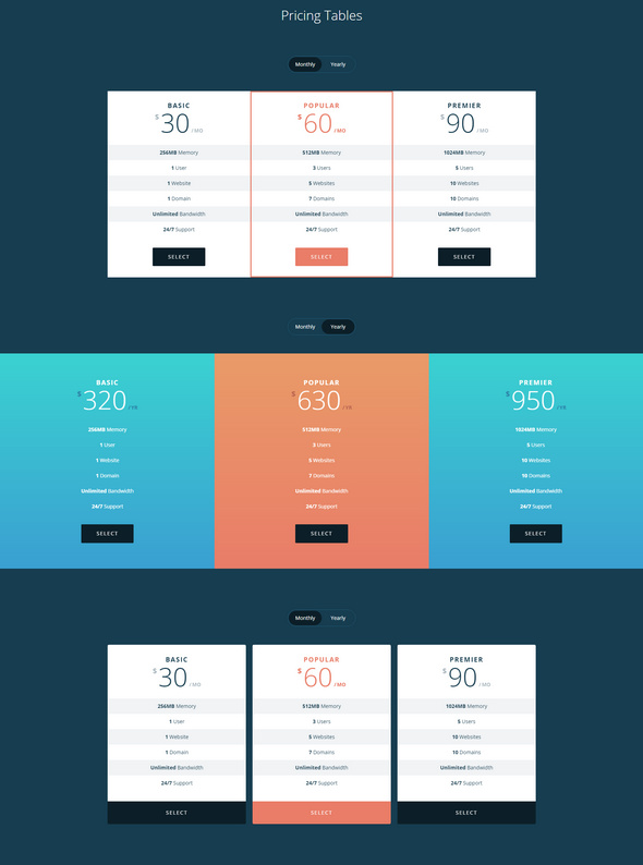simple pricing tables with css, html