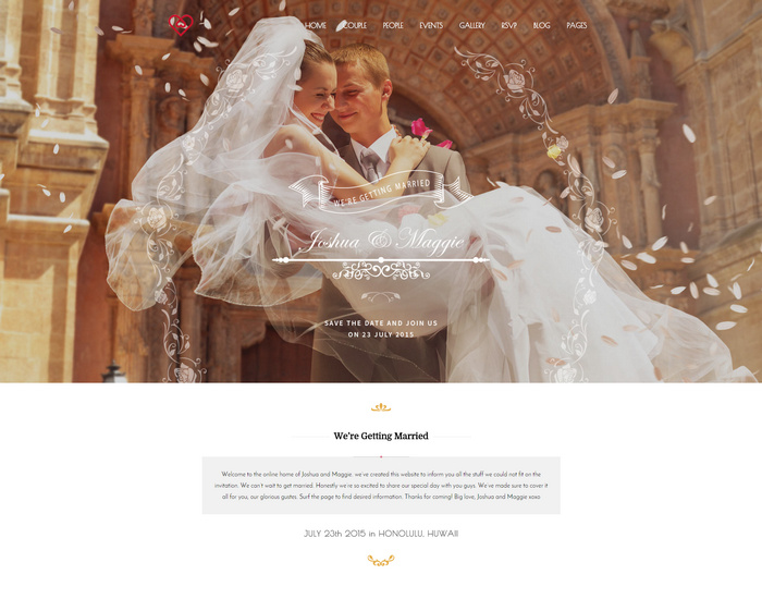 wedding suite - full screen wedding theme for wordpress