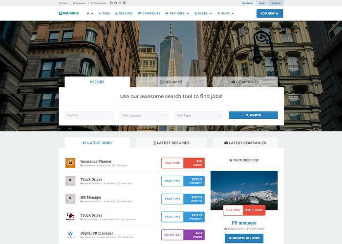 Job Board and Resumes WordPress Theme