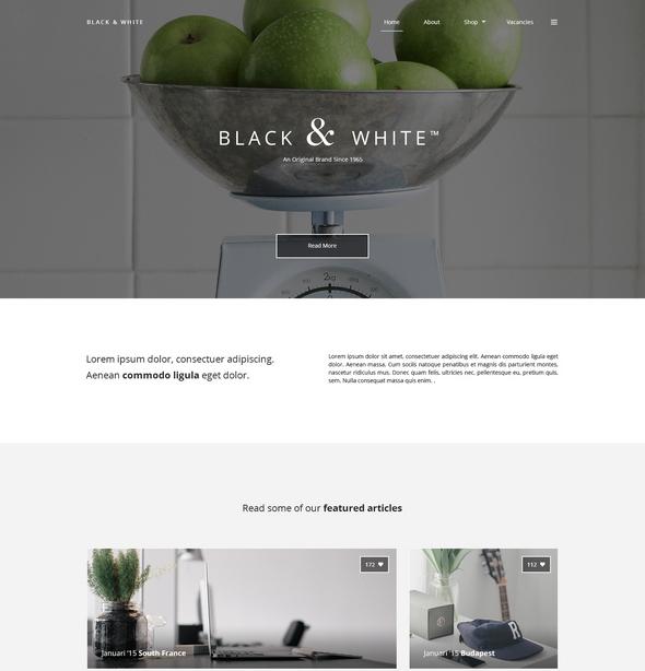 black white psd website template