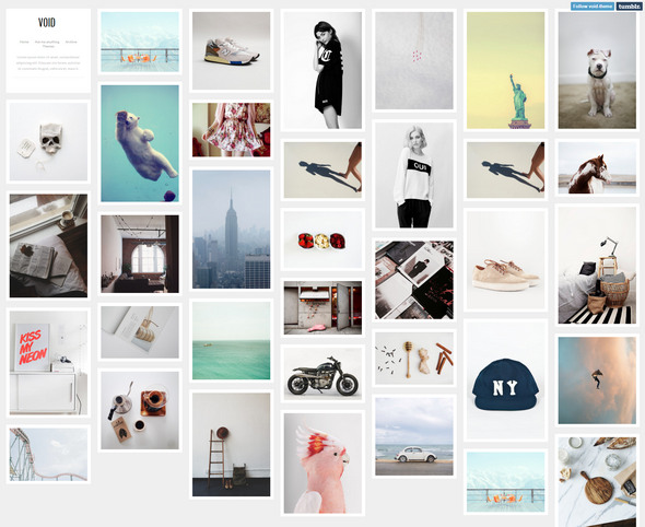 void - free tumblr theme for creatives