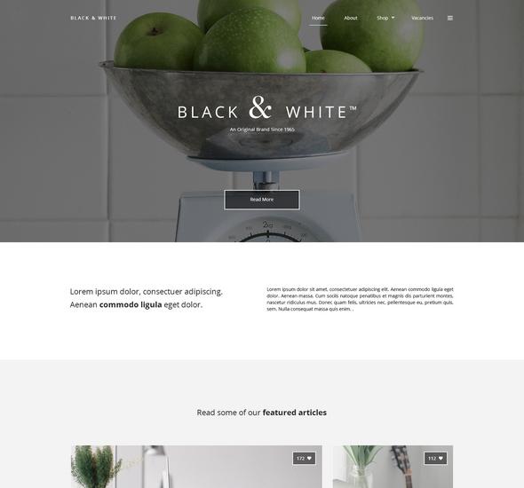 Black White - Free PSD Web Template