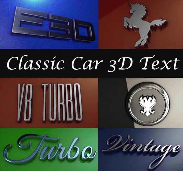 Classic Car 3D Text