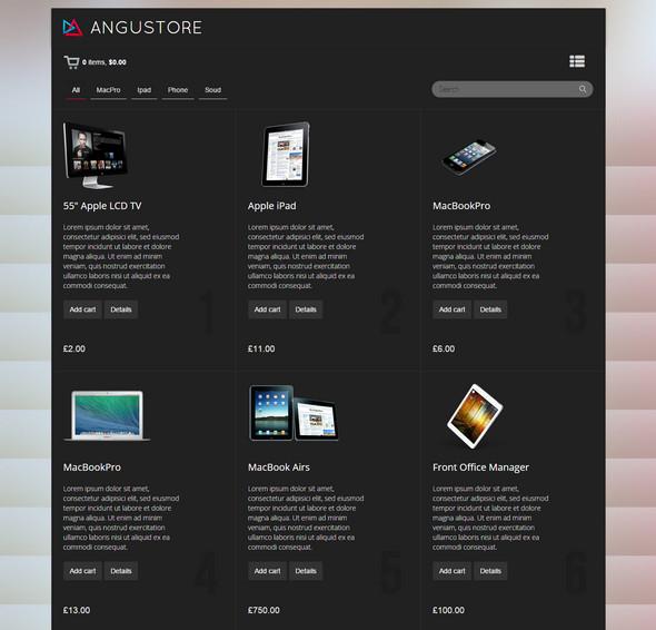 Angustore - Responsive Shopping Cart