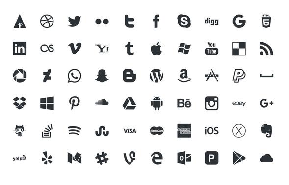 Social icons psd, vector, ai