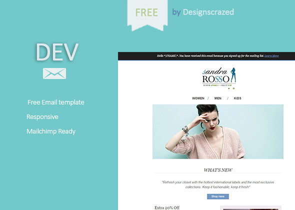 Dev – A free email html template
