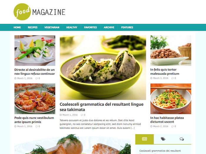 Free Food Magazine Theme