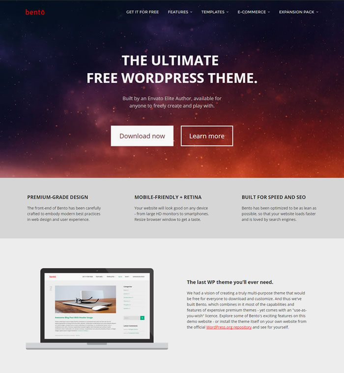 Bento - the ultimate wordpress theme