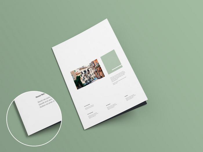 free Bi-fold Brochure Mock-up psd template