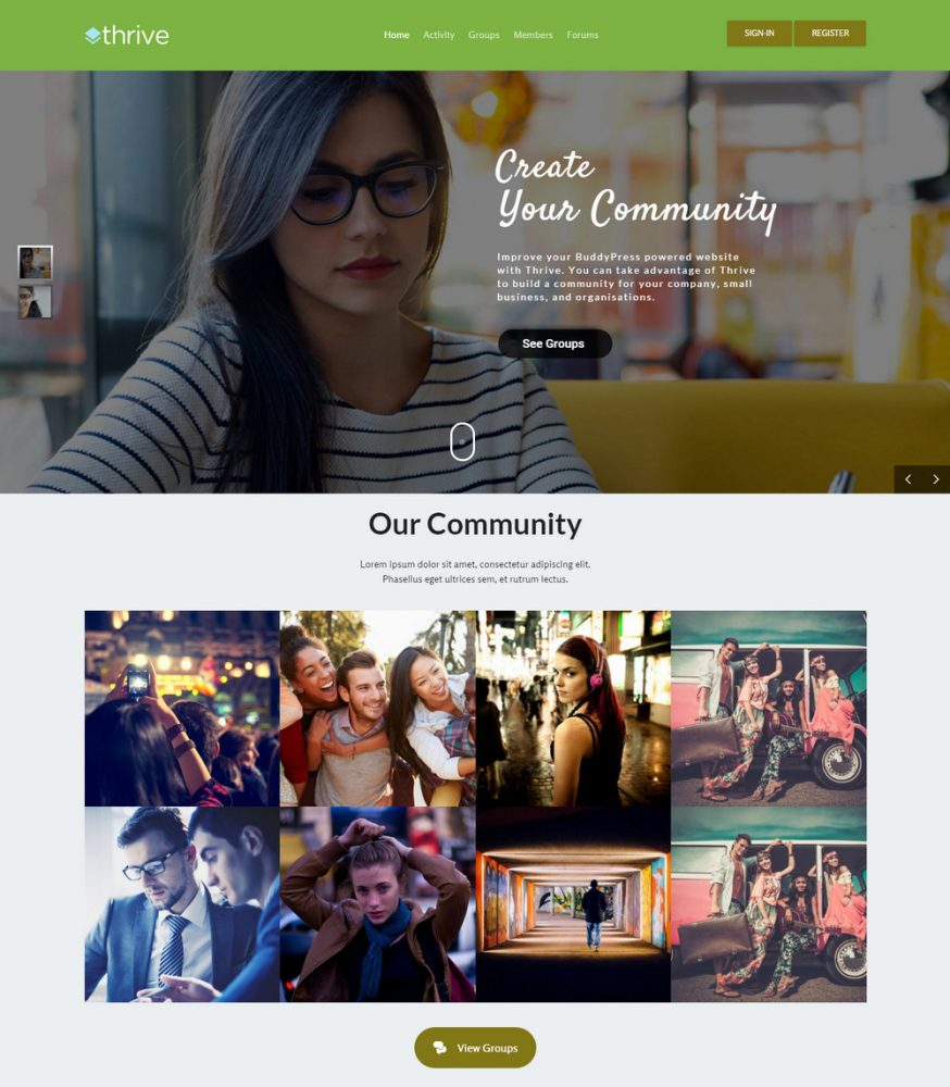 Thrive Community WordPress Theme