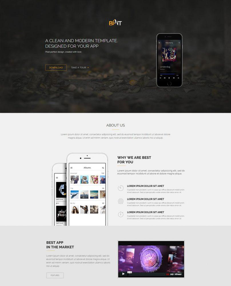 bent- free app landing page