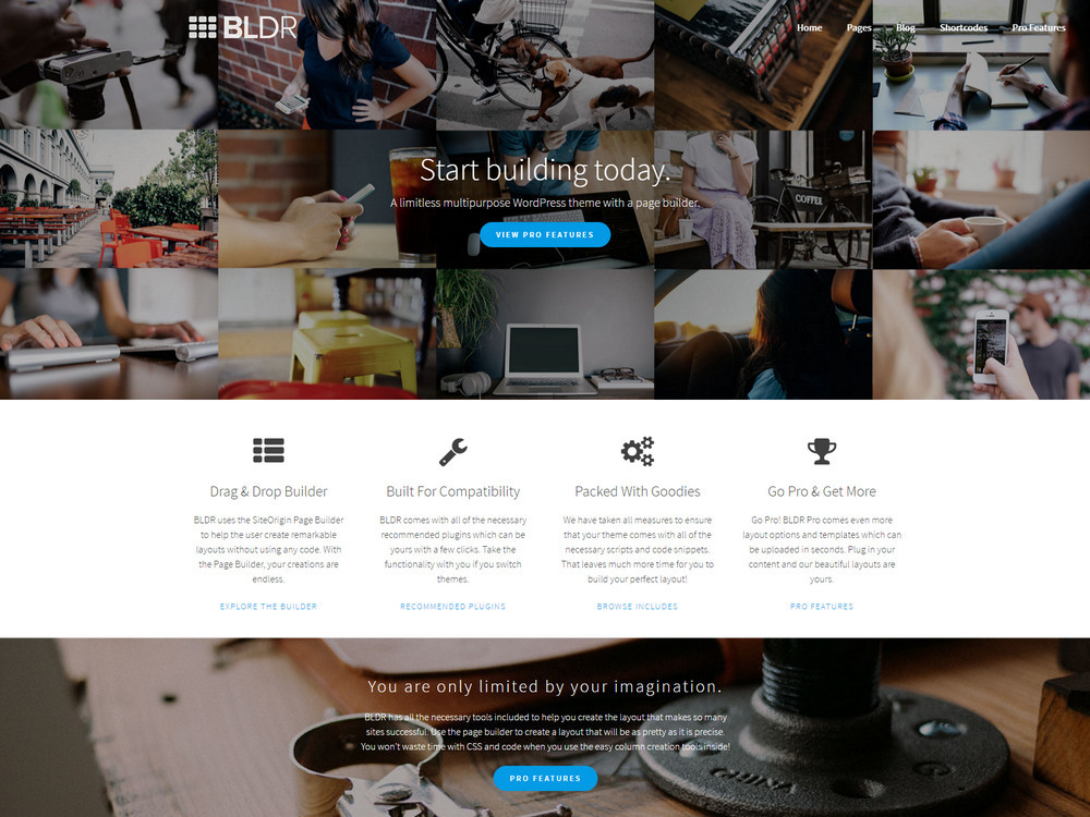 free s multipurpose WordPress theme with a page builder