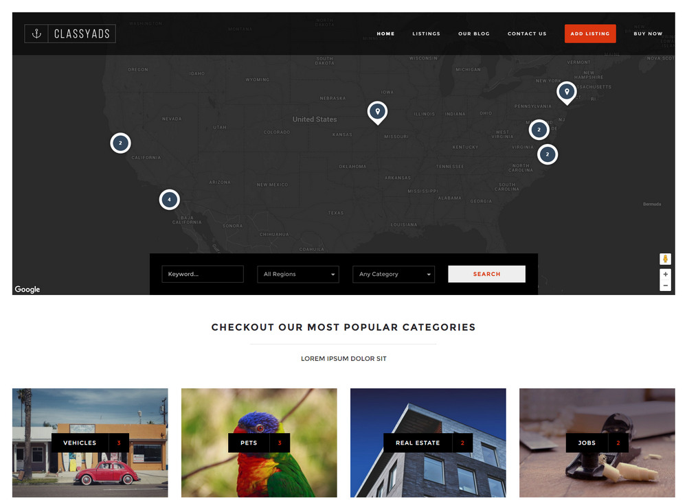 classyads - like airbnb wordpress theme
