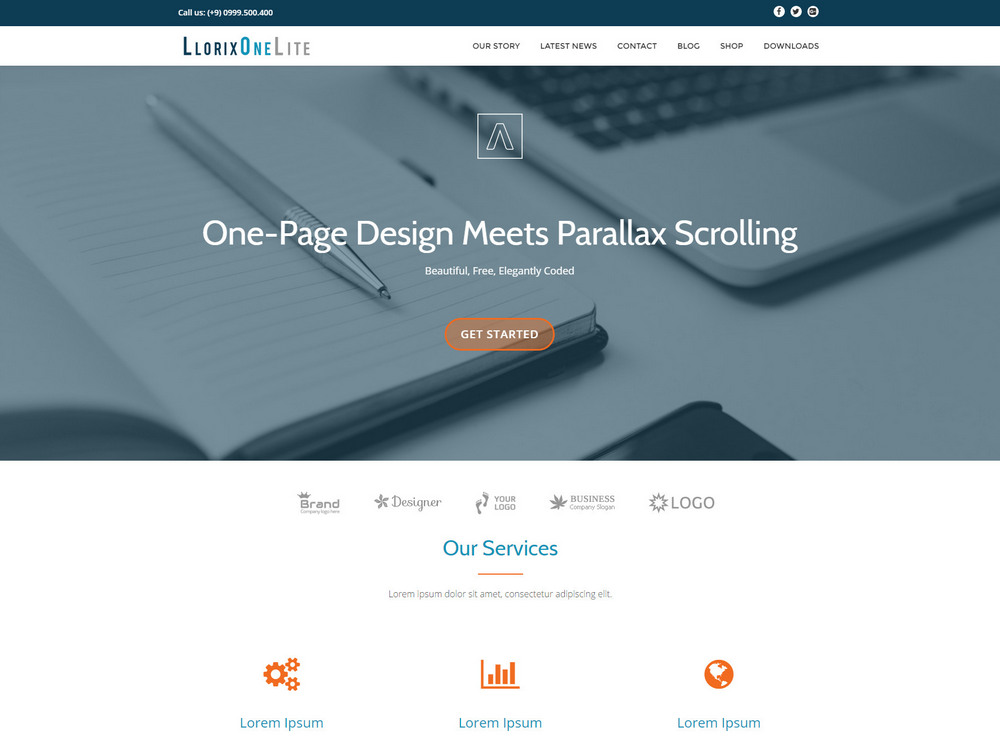 free and beautiful one page business WordPress theme