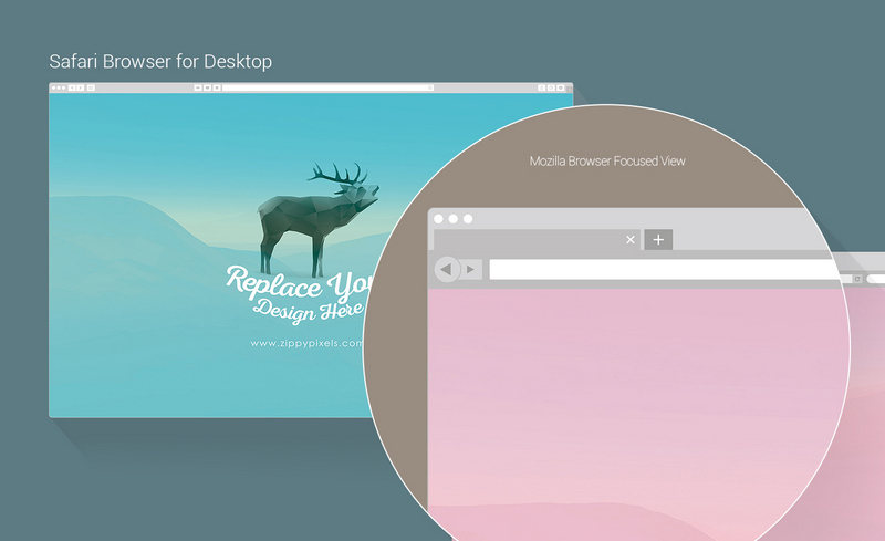 free mockup of web browser psd , vectors