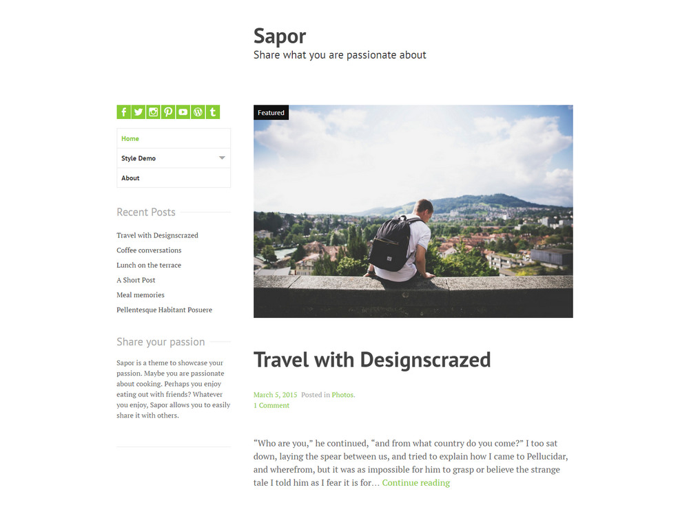 sapor travel theme for bloggers