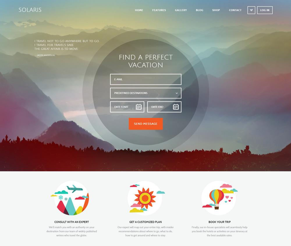 Solaris Travel Agency WordPress Theme