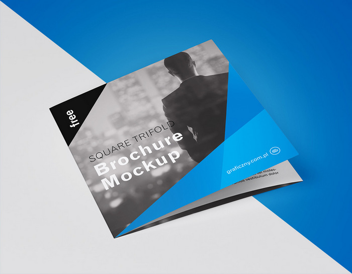Trifold square brochure psd mockup