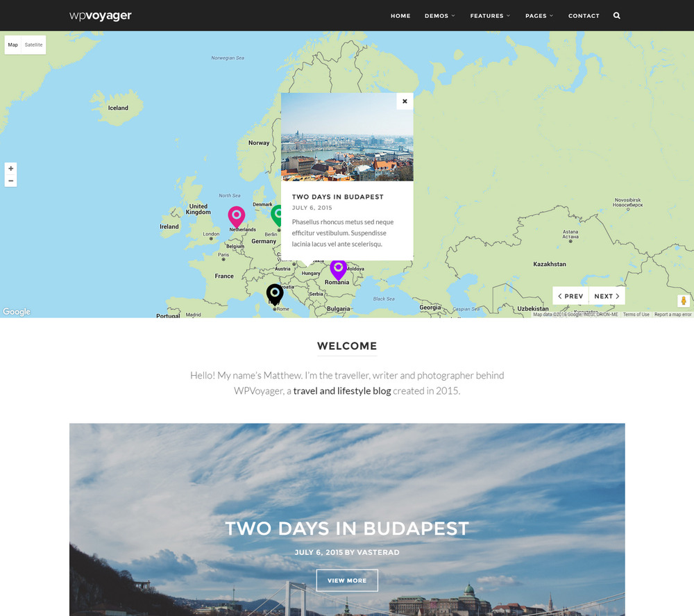 WPVoyager - best Travel Blog WordPress Theme