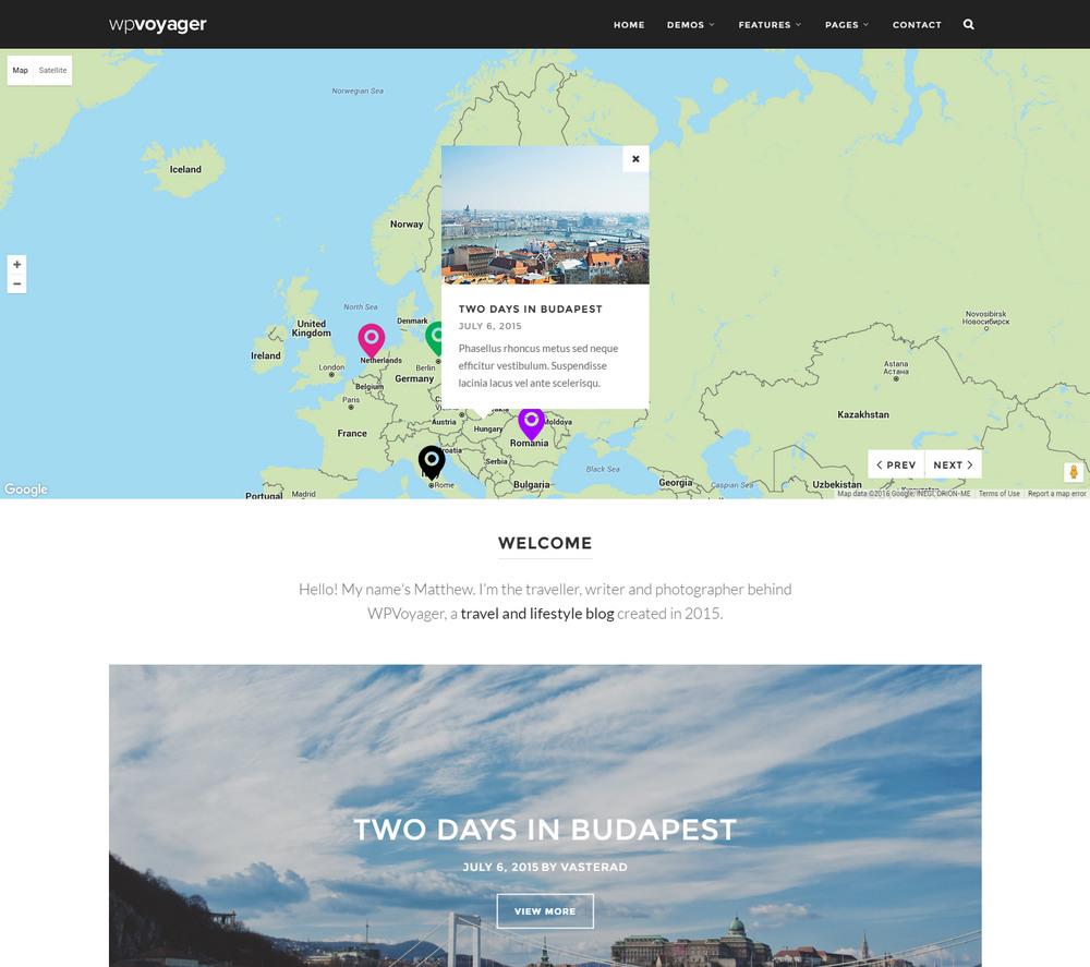 WPVoyager - best Travel Blog WordPress Theme