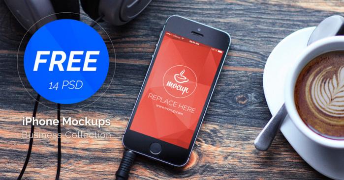Free 14 PSD iPhones Mockups