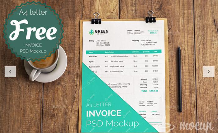 Free Invoice PSD Mockup template