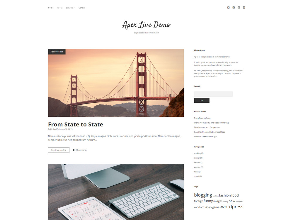 free sophisticated, minimalist theme