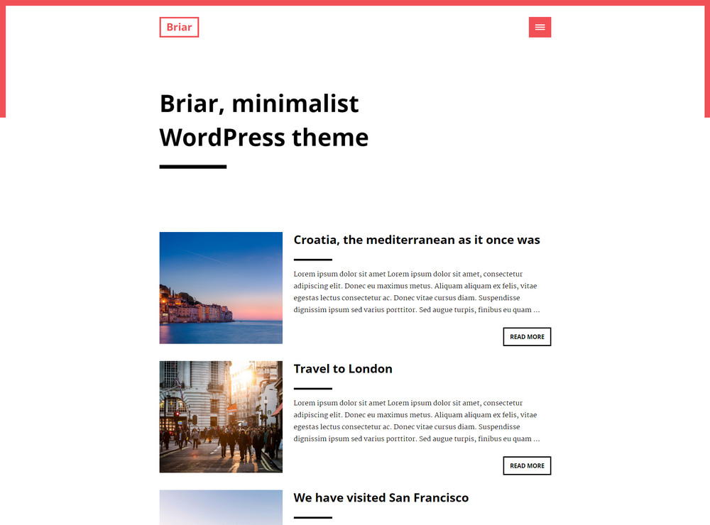 minimalist free WordPress theme