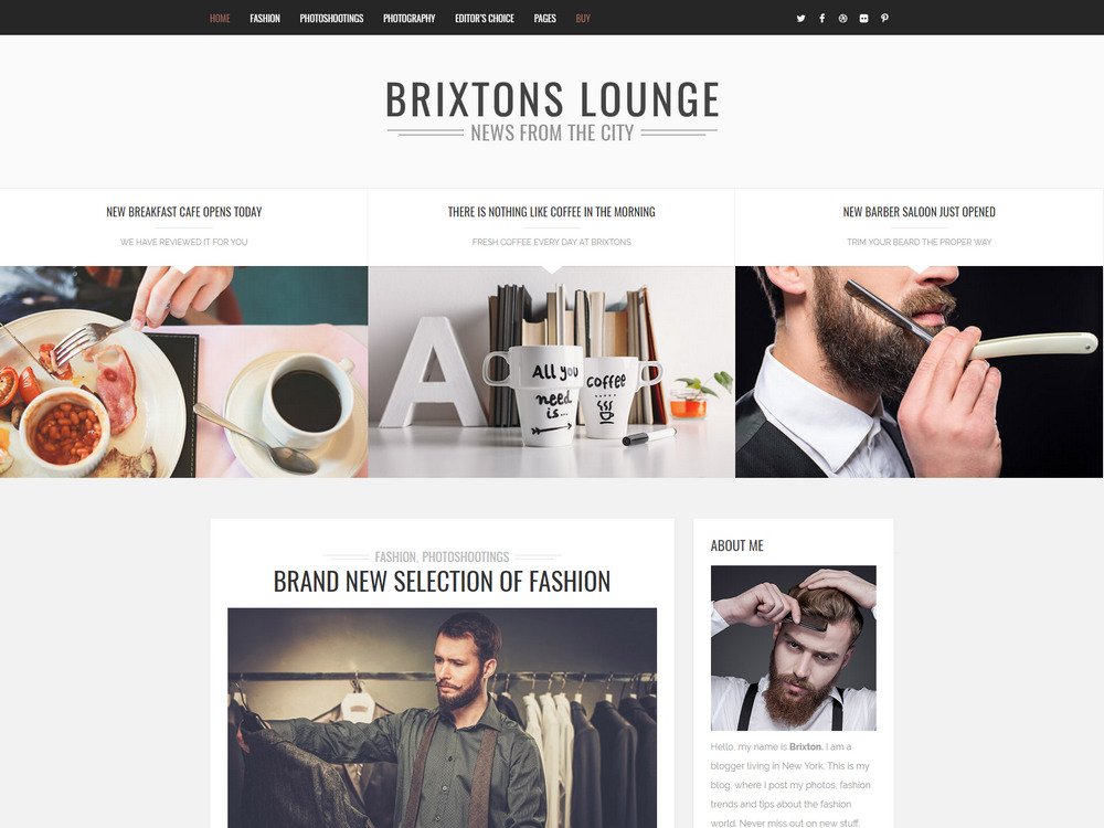 Brixton - WordPress Blog Theme for fashion magazine, bloggers